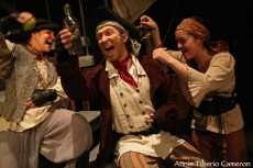 """""""Treasure Island,"""" adapted from Robert Louis Stevenson by Kim Bent at Lost Nation Theater in Montpelier, Vt., through May 17. Pictured: Courtney Wood, Christopher Scheer and Kate Kenney."""