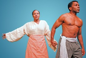 """""""Uprising"""" by Gabrielle Fulton, at Horizon Theatre Company in Atlanta through Aug. 23. Pictured: Cynthia D. Barker and Anthony Manough. (Photo by Jay Bowman)"""