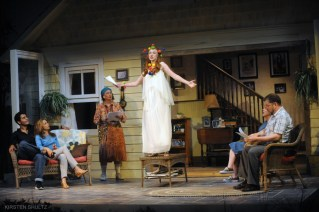 """""""Vanya and Sonia and Masha and Spike"""" by Christopher Durang, at Company of Fools in Hailey, Idaho, through July 22. Pictured: Max Ehrlich, Denise Simone, Jana Arnold, Maggie Horran, Patsy Wygle, and John Glenn. (Photo by Kirsten Shultz)"""