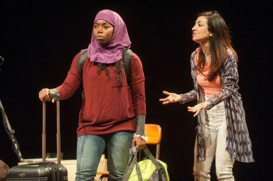 """""""Veils"""" by Tom Coash, at Barrington Stage Company in Barrington, Mass., through Oct. 18. Pictured: Donnetta Lavinia Grays and Hend Ayoub. (Photo by Kevin Sprague)"""