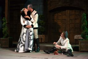 """""""The Winter's Tale"""" by William Shakespeare, at First Folio Shakespeare Festival in Clarendon Hills, Ill., through Aug. 9 Pictured: Melissa Carlson, Kevin McKillip, and Ann Marie White. (Photo by David Rice)"""