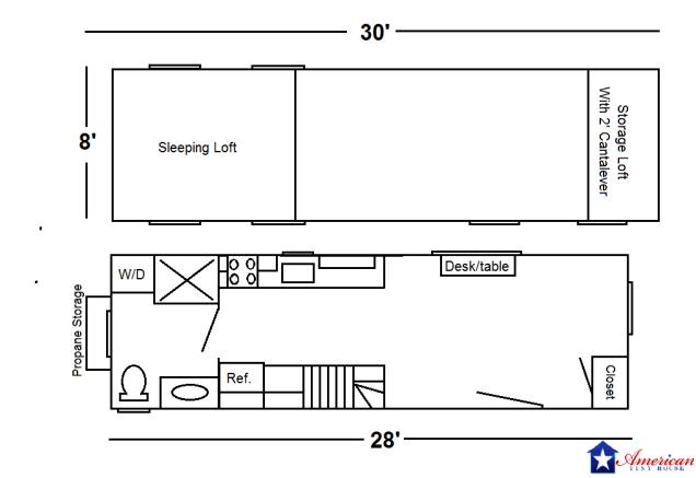 28' San Fransisco Floor Plan Rev - American Tiny House Floor Plan