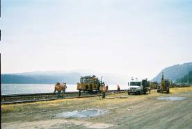 Railway maintenance and view of the Columbia near the White Salmon confluence
