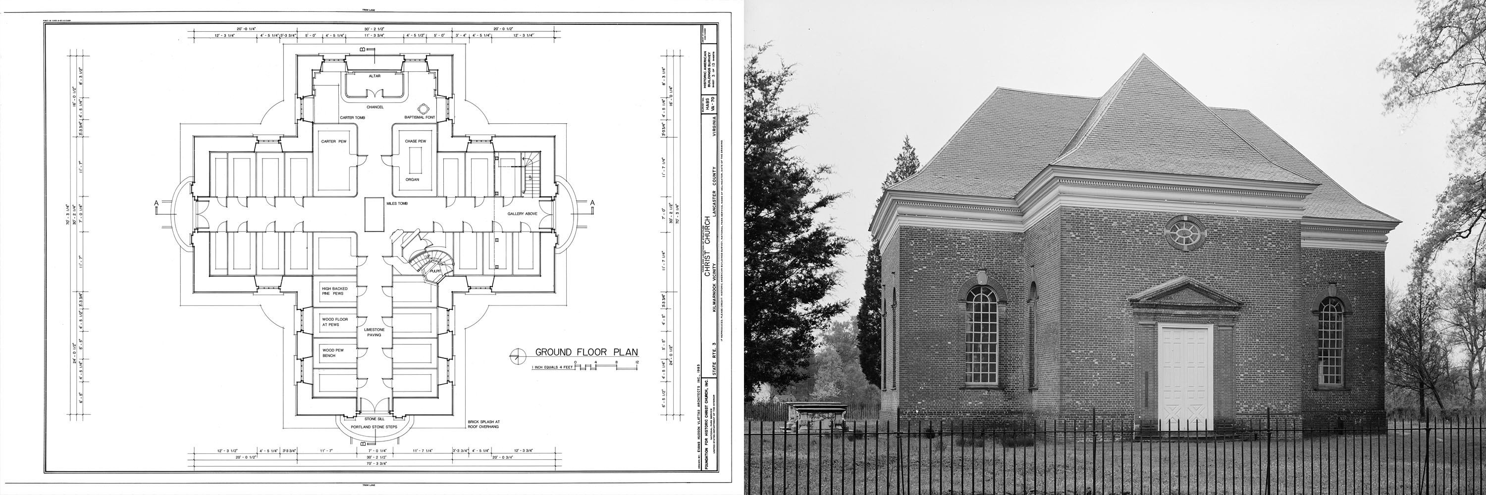 Blueprint And Photograph Of Christ Church