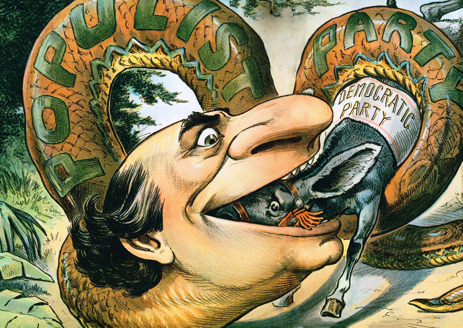 William Jennings Bryan and the Politics of Gold   HIST 1302  US     In this cartoon  the Populist Party in the form of a snake with a human