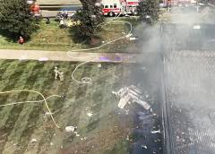 Cessna 560 business jet crashed into a building killing four onboard in Robertson Field Airport