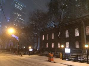 Schneechaos in Downtown nahe Ground Zero