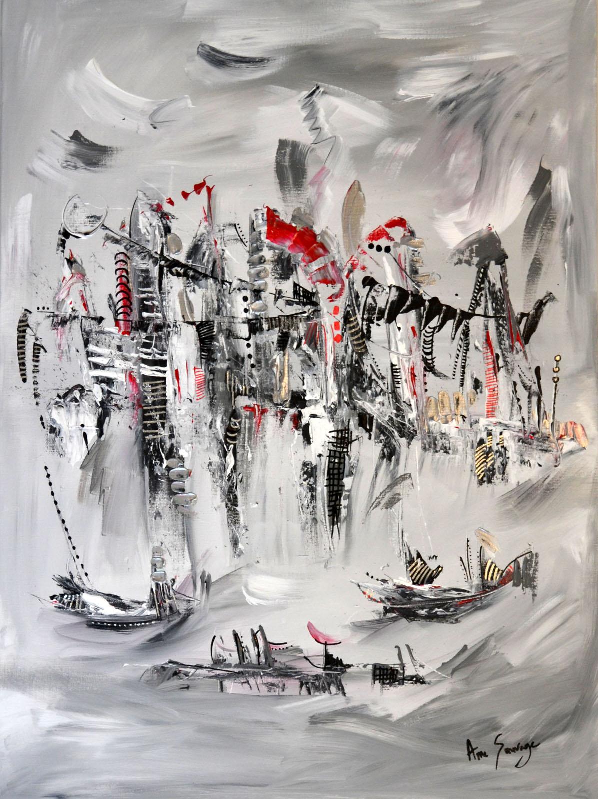 Tableau Abstrait Contemporain Gris Noir Blanc Rouge Et Argent L Ile Volante