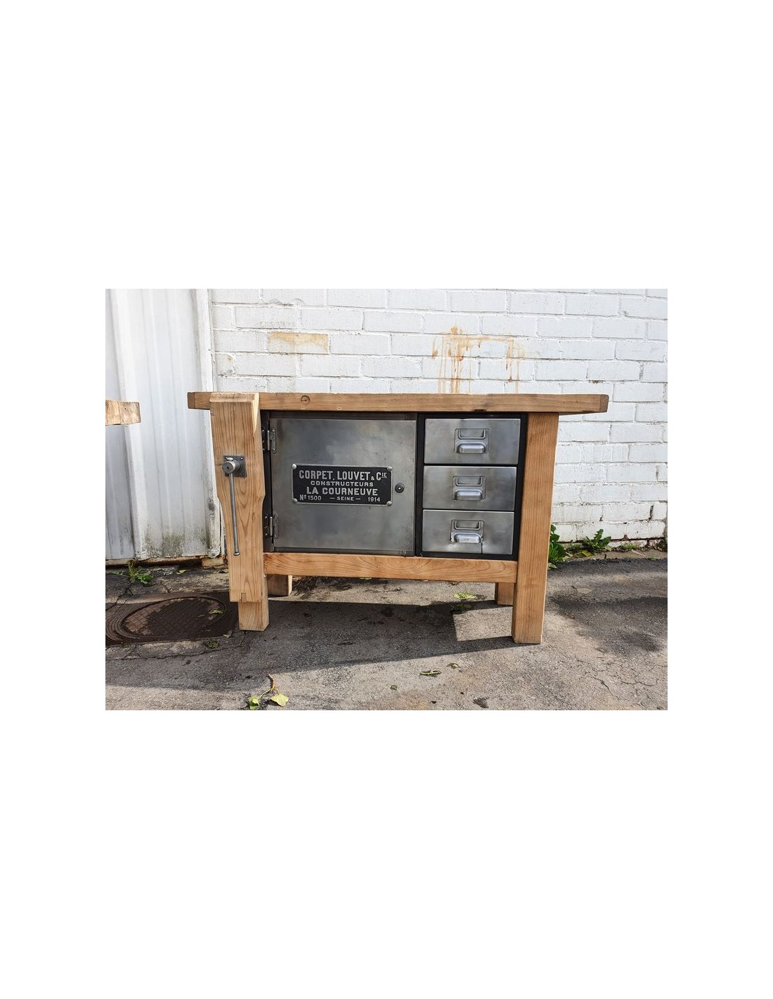 ancien etabli meuble industriel chene et metal