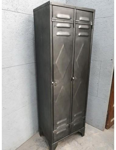 vestiaire industriel en metal deux portes decors pointe diamant