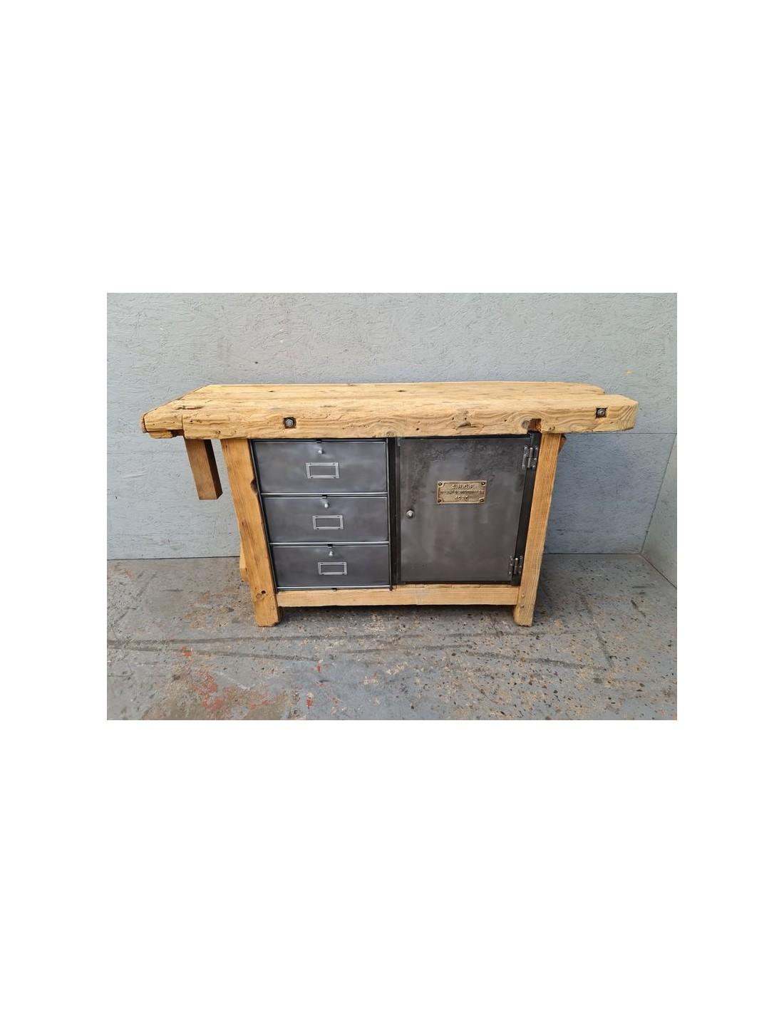 ancien etabli en pin meuble industriel vintage bois et metal plaque laiton sncf