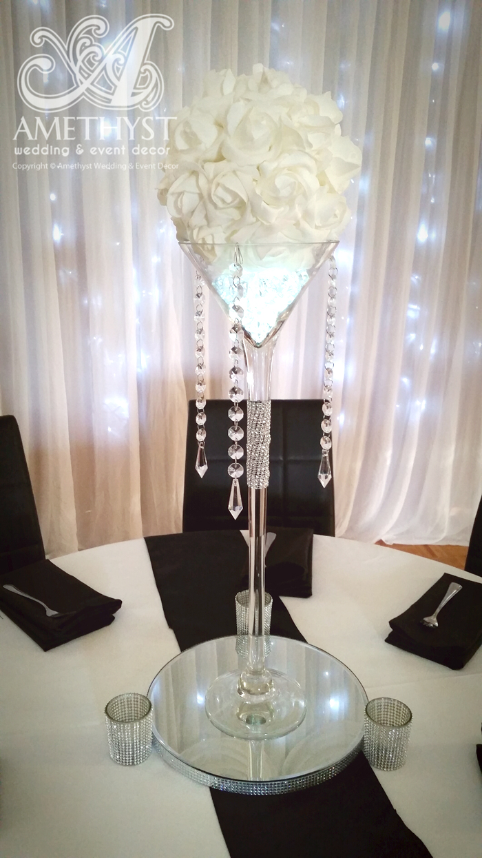 Crystal Martini With White Rose Ball Package
