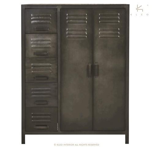 armoire penderie industrielle lokker 5 tiroirs 2 portes