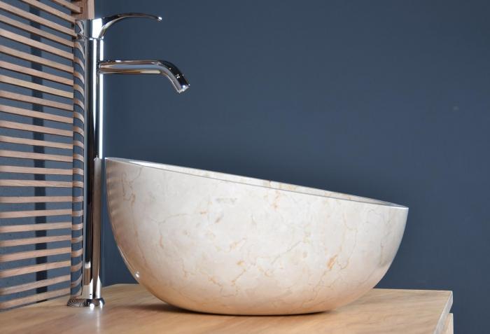 Vasque Salle De Bain En Marbre Beige Forme Oblique Originale