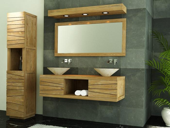 meuble de salle de bain brehat l140 en teck