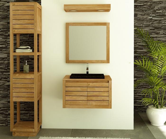 meuble salle de bain teck molene 55 cm
