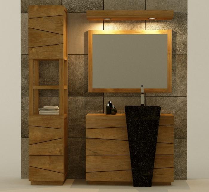 pack meuble de salle de bain en teck rhodes 100 vasque noire