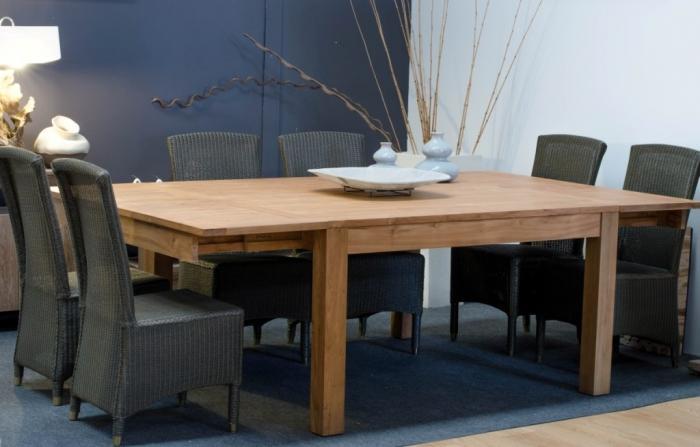 table de repas 12 personnes carree en teck 140x140 2 rallonges integrees