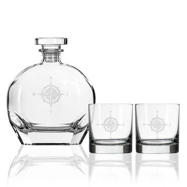 compass rose 3 piece gift set whiskey decanter rocks glasses american museum of fly fishing