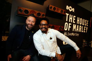 LAS VEGAS, NV - JANUARY 07: Sam Vanderveer (L) and Rohan Marley hang out at the House of Marley booth during CES 2016 at the Las Vegas Convention Center on January 7, 2016 in Las Vegas, Nevada. (Photo by Isaac Brekken/Getty Images for House of Marley)