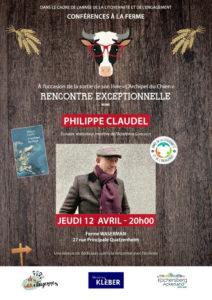 Affiche Claudel 12 avril 2018 - L'écrivain Philippe Claudel à la ferme Waseman