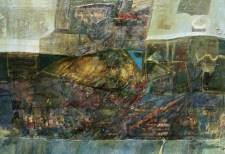 Walter Accigliaro - Tracce da un'iperbole blu - tecnica mista su compensato - cm. 90 x 62
