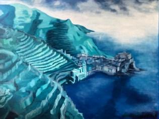 Aicardi Maidè - Vernazza in blu - olio su tela - cm. 80 x 60