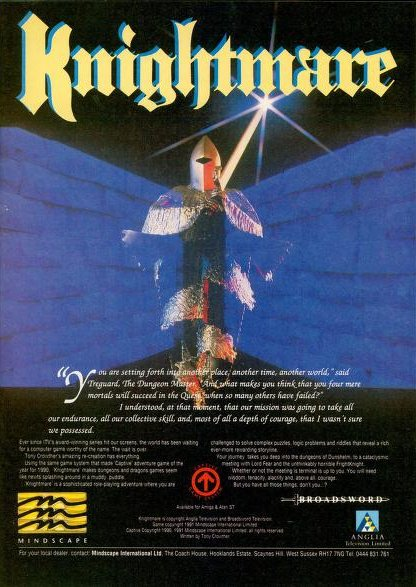 Advertising poster for the Knighmare computer game