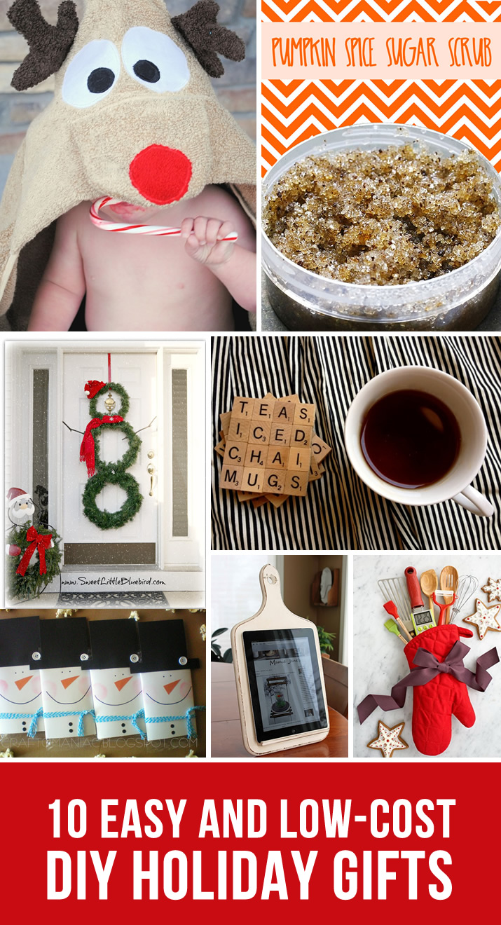 10 DIY Holiday Gift Ideas: Impress your loved ones with these simple and affordable gifts from hooded reindeer towels to sugar scrubs to scrabble coasters and so much more.