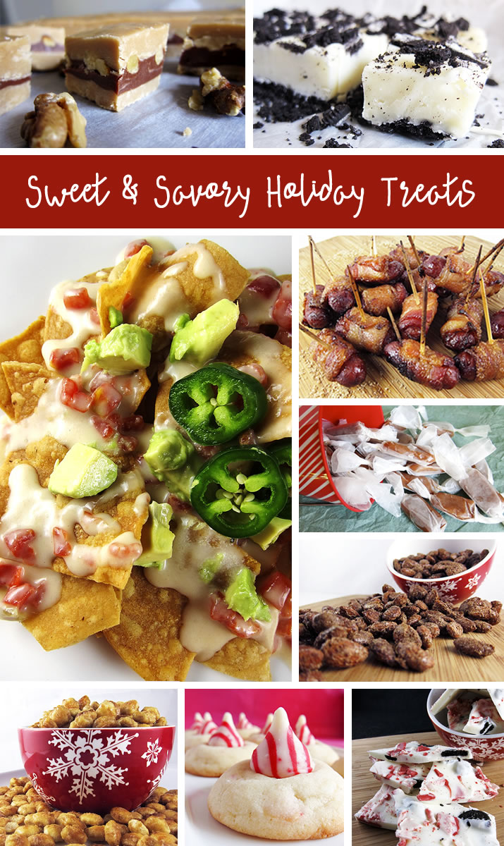 Sweet and Savory Holiday Treats: A great round-up of family favorite holiday treats, including creamy caramels, peppermint oreo bark, caramilk fudge, candied bacon lil smokies and more.