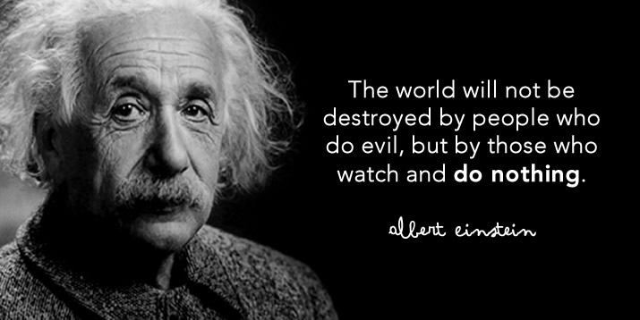 The world will not be destroyed by those who do evil, but by those who watch and do nothing. Albert Einstein