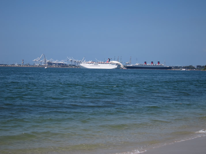 Ocean (with Carnival Cruise ship and the Queen Mary)
