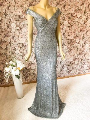 Extravagantes Abendkleid Silber