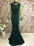 Abendkleid Hochgeschlossen Smaragdgrün