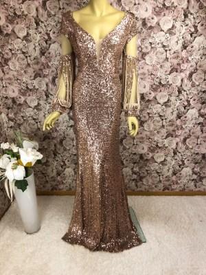 Elegantes Pailletten-Abendkleid Rose