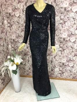 Pailletten-Kleid Abendkleid schwarz lang