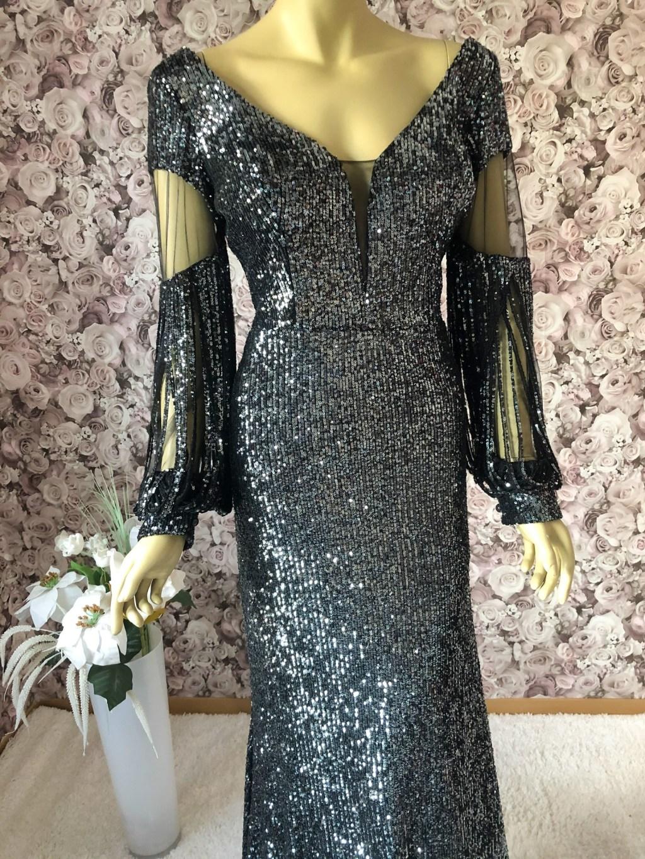 Pailletten-Kleid Abendkleid-Schwarz Lang