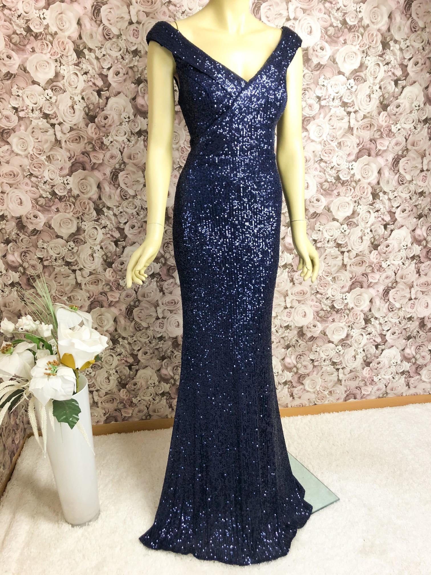Elegantes Abendkleid Blau ✔ besetzt mit Pailletten✔Blau/Multicolor✔