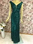 Elegantes Pailletten-Kleid Smaragdgrün