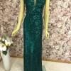 Abendkleid lang smaragdgrün mit Pailletten