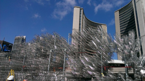Construction of an Ai Wei Wei sculpture for Nuit Blanche - Nathan Philips Square, Toronto