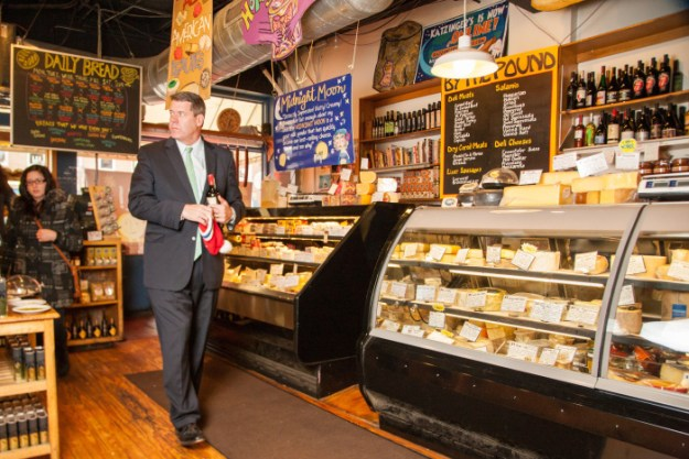 Katzinger's Cheese cases. Shot 11/13/14 at Katzinger's Deli in German Village, Columbus for Alive Eat & Drink Feature Review. (Meghan Ralston)