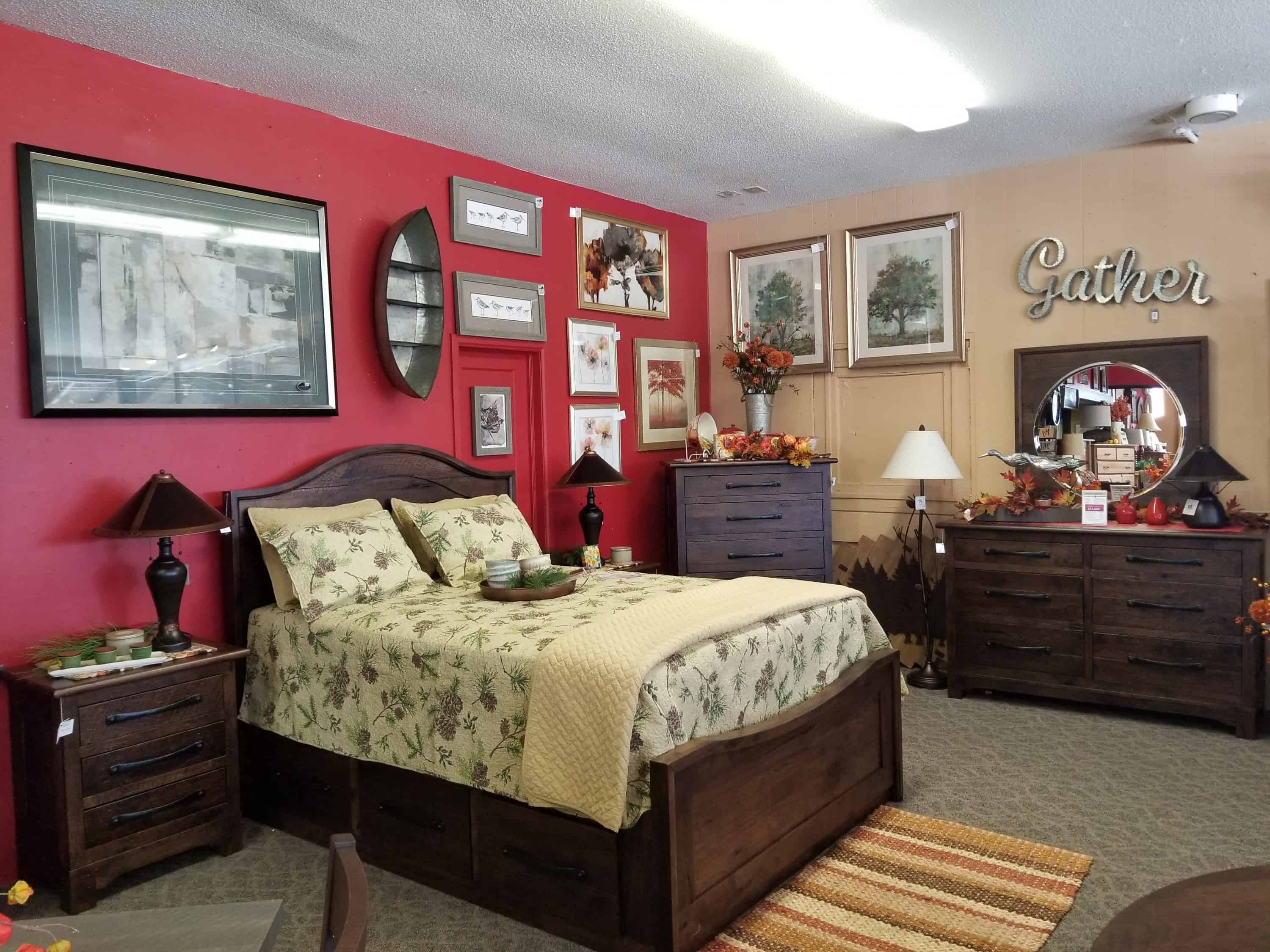 farmhouse bedroom set shown in a pressed rustic hickory and a briar finish