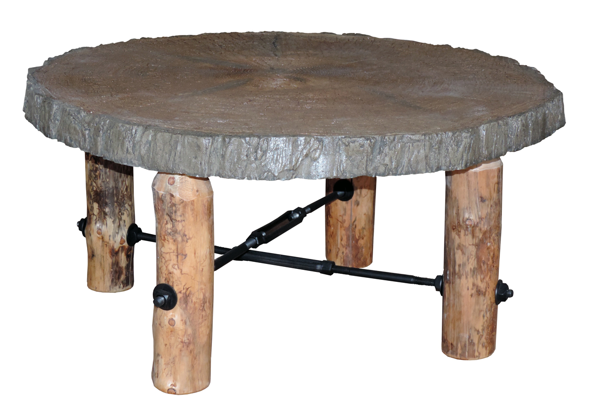 blue ridge rustic pine coffee table with concrete top