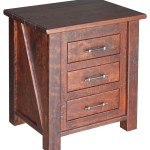 Early American Rustic 3 Drawer Nightstand In Cherry