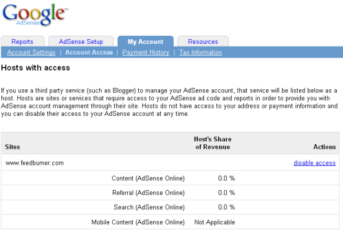 Google Adsense Account Access