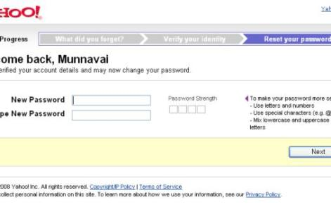 Yahoo Password Recovery Sucess Welcome