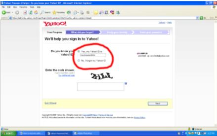Yahoo Account Password Recovery Wizard