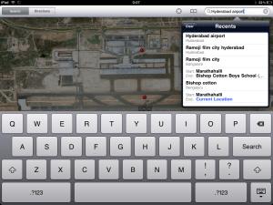 Search Location iPad Maps