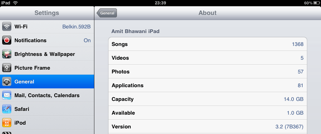 Apple iPad Firmware Version
